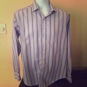 Thomas Dean Men's Large shirt purple stripes